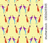 seamless pattern with lovers b... | Shutterstock .eps vector #1302635545
