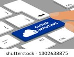 keyboard with blue cloud... | Shutterstock .eps vector #1302638875