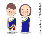 tibet wedding couple  cute... | Shutterstock .eps vector #1302640468