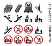 Escalator Icons Set. Simple Se...