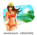 hot girl on a beach. vector... | Shutterstock .eps vector #130264556