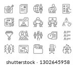 jobs line icon set. included... | Shutterstock .eps vector #1302645958