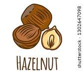 hazelnut piece icon. hand drawn ... | Shutterstock .eps vector #1302647098