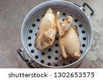 steamed chicken in aluminium...