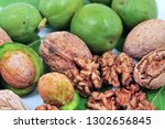 walnuts and kernel isolated on... | Shutterstock . vector #1302656845