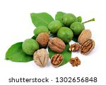 walnuts and kernel isolated on... | Shutterstock . vector #1302656848