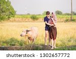 farmers couples are loving each ... | Shutterstock . vector #1302657772