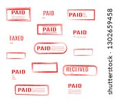 set of rectangular stamps paid  ... | Shutterstock . vector #1302659458