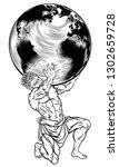 atlas the titan from greek... | Shutterstock .eps vector #1302659728