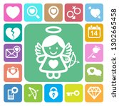 valentine's day icons set.... | Shutterstock .eps vector #1302665458