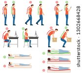 good posture. correct and... | Shutterstock .eps vector #1302668428