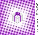 gift box with ribbon and bow on ... | Shutterstock . vector #1302668545