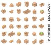 set of different cardboard... | Shutterstock . vector #1302669208