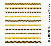 set of seamless yellow and... | Shutterstock . vector #1302670708