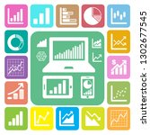 business graph icon set... | Shutterstock .eps vector #1302677545