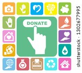charity and donation icons set. ... | Shutterstock .eps vector #1302677995