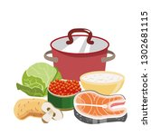 red saucepan with copper lid.... | Shutterstock .eps vector #1302681115