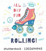 rollers  girls  ride  skate... | Shutterstock .eps vector #1302694945