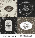 vector set of food illustration ... | Shutterstock .eps vector #1302701662