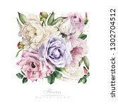 greeting card with flowers ... | Shutterstock . vector #1302704512