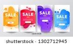 plastic liquid gradient waves... | Shutterstock .eps vector #1302712945