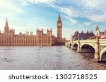 big ben  the houses of... | Shutterstock . vector #1302718525