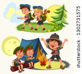 cartoon scouting children... | Shutterstock .eps vector #1302731575