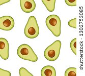 flat style avocado seamless... | Shutterstock .eps vector #1302753085