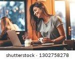 attractive woman is reading... | Shutterstock . vector #1302758278