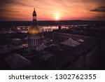 Aerial of Beautiful Sunset in Trenton New Jersey