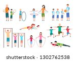 active family. people and kids... | Shutterstock .eps vector #1302762538