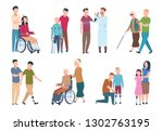 people with disabilities and... | Shutterstock .eps vector #1302763195