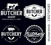 set of butcher shop and... | Shutterstock .eps vector #1302769282