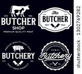 set of butcher shop and... | Shutterstock .eps vector #1302769282