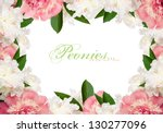 Peach and white peonies with copy space horizontal - stock photo