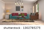 interior of the living room. 3d ... | Shutterstock . vector #1302785275