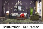 interior of the living room. 3d ... | Shutterstock . vector #1302786055