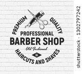 barber shop circle logo  sign ... | Shutterstock .eps vector #1302797242