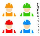 construction worker icon set | Shutterstock .eps vector #1302798478