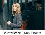 attractive young caucasian... | Shutterstock . vector #1302815005