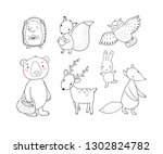 Stock vector animals of the forest set with cute cartoon bears fox hare and squirrel owl and deer design 1302824782