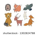 Stock vector animals of the forest set with cute cartoon bears fox hare and squirrel owl and deer design 1302824788