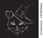 black cat with pointy witch hat ... | Shutterstock .eps vector #1302833662