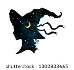 silhouette of beautiful curly... | Shutterstock .eps vector #1302833665