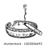 smoking cigarette in an ashtray.... | Shutterstock .eps vector #1302836692