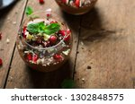 chocolate mousse served with... | Shutterstock . vector #1302848575