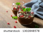 chocolate mousse served with... | Shutterstock . vector #1302848578