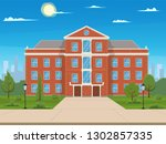 school building with the street.... | Shutterstock .eps vector #1302857335