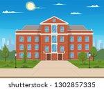 school building with the street.... | Shutterstock .eps vector #1302857335