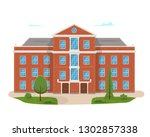 school building with the street.... | Shutterstock .eps vector #1302857338